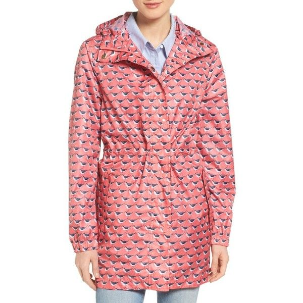 Women's Joules Right As Rain Packable Print Hooded Raincoat (250 BRL) ❤ liked on Polyvore featuring outerwear, coats, soft coral oyster catcher, hooded parka, red parka coat, pattern coat, red coats and parka raincoat