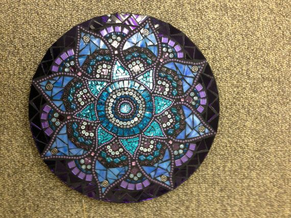 This is a beautiful one-of-a-kind , handmade mosaic mandala. I designed and created this mandala using blues and purples in many different