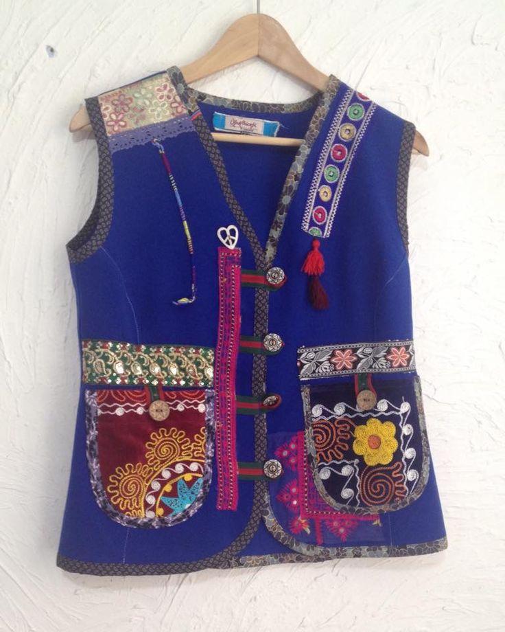 saks blue handmade vest