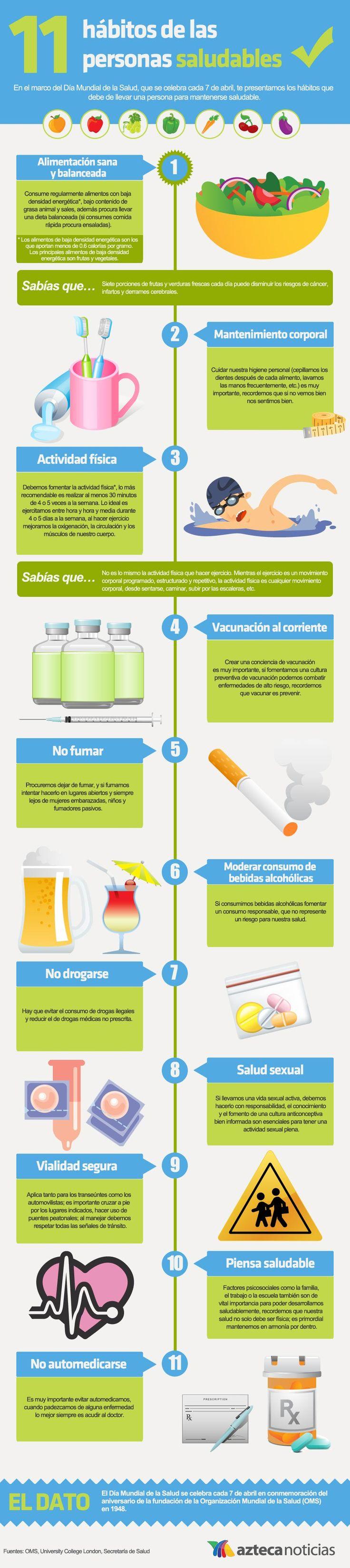 11 hábitos de las personas saludables #Infografia