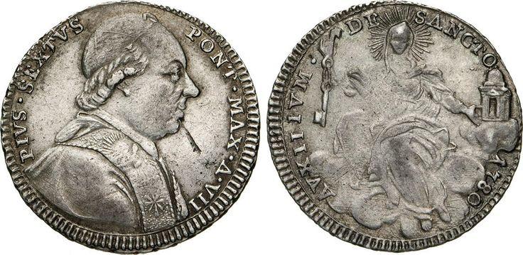 NumisBids: Numismatica Varesi s.a.s. Auction 65, Lot 840 : PIO VI (1775-1799) Quinto di Scudo 1780 A. VIII, Roma. Munt. 39a ...