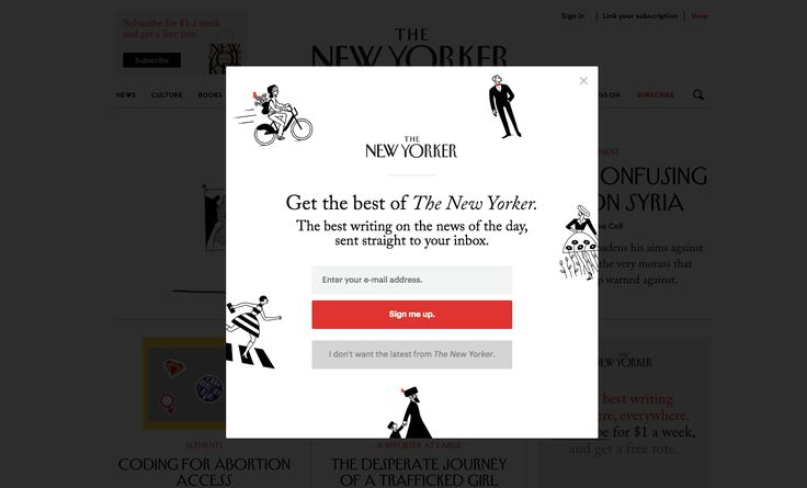 New Yorker subscription lightbox