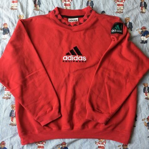 Vintage Red Adidas Equipment Sweatshirt M Red Adidas Sweatshirt Red Adidas Sweatshirts