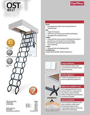 OPTISTEP OST Metal Scissors Loft Ladder + Frame And Insulated Hatch 50cm x 80cm