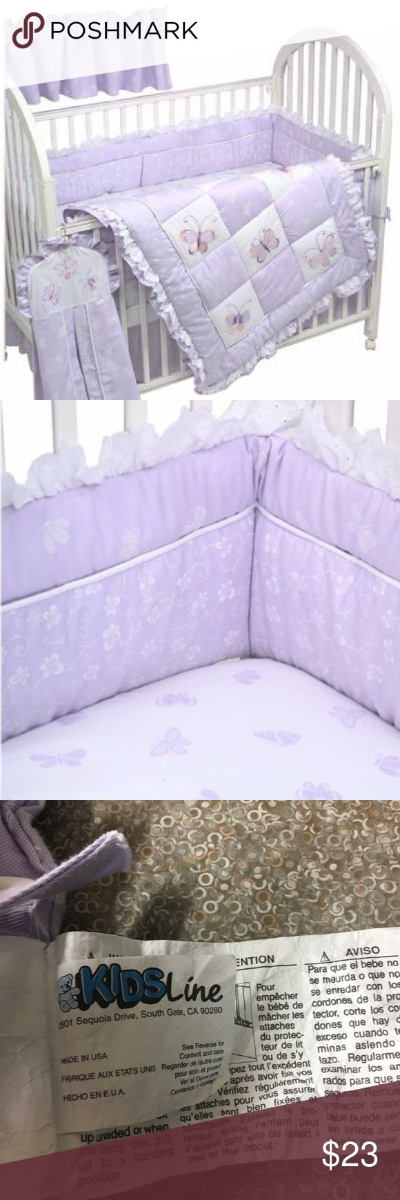 Kids Line Lavender Butterfly Baby Crib Bumper Kids Line Lavender Butterfly Baby Crib Bumper   In great condition has tiny spot on it but I think it could be removed with a stain remover. Small stain is on the back so it's not visible.  Crib Bumper for sale only.   Retail: $59 Other