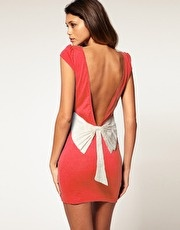Coral Low Back Dress