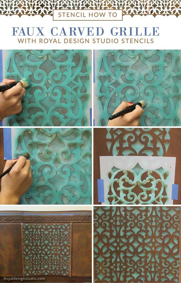 DIY VIDEO - How to paint and stencil the look of a faux carved wood grill with stenciling shading and the Mansion House Grille furniture trellis stencil from Royal Design Studio