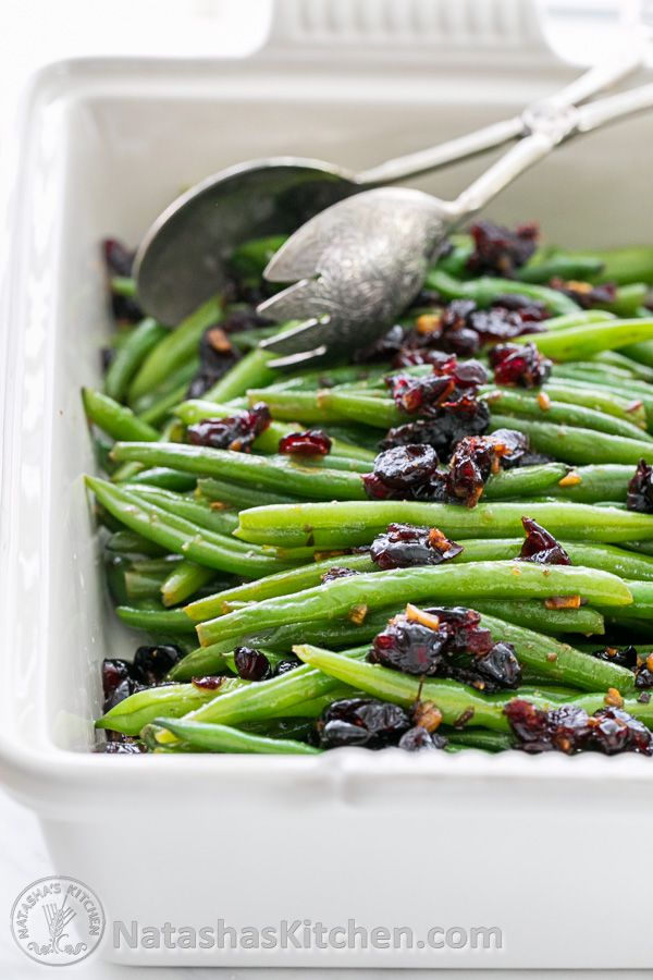 Green Beans with Cranberries - Super flavorful and easy side dish. Family approved! @natashaskitchen