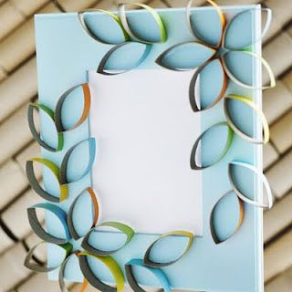 Great Earth Day craft, recycling toilet paper rolls and a frame