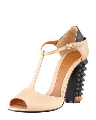 LOVE THESE!!! Polifonia Stud-Heel T-Strap Sandal, Nude/Black by Fendi at Bergdorf Goodman.