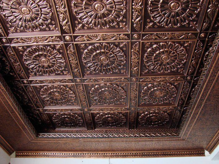 PVC tile ceiling - this would be beautiful in the dining room, as well as, in the basement. :)
