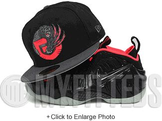 Vancouver Grizzlies Jet Black Carbon Graphite Yeezy Foamposite Matching New Era Fitted Cap