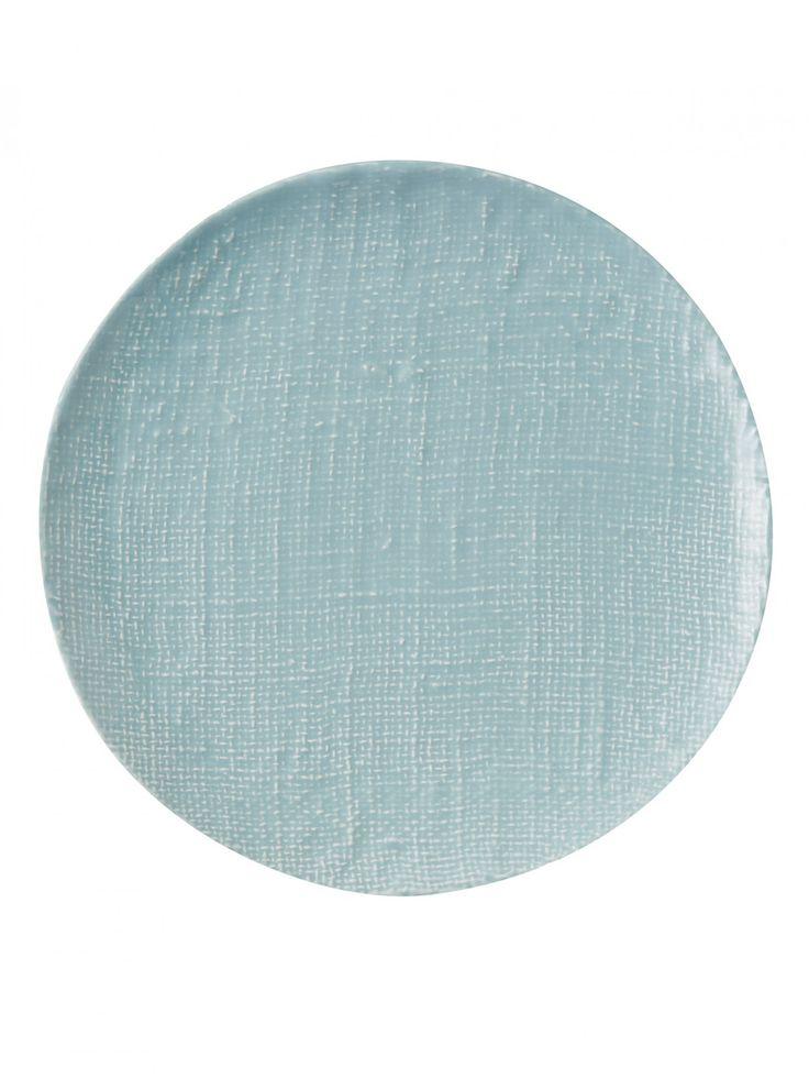 Duck Egg Blue Textured Ceramic Dinner Plate