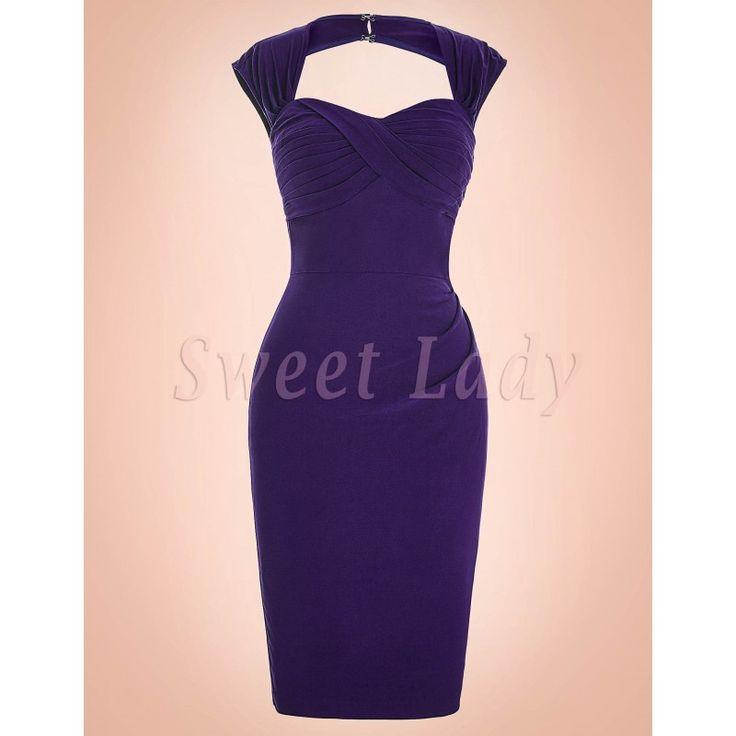 Úzke fialové šaty v retro štýle