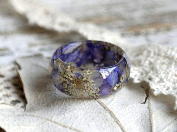 eco resin ring REAL FLOWER RING Resin jewelry Queen Anne's