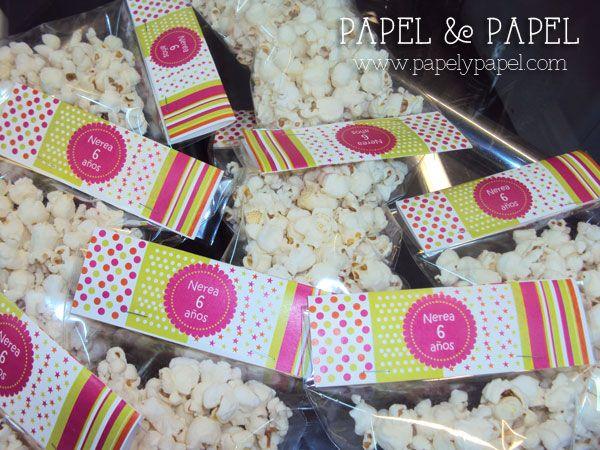 etiquetas para personalizar bolsitas de palomitas o dulces