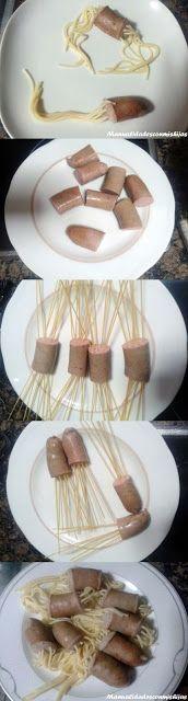 Manualidades con mis hijas: Pulpos de salchichas y espaguetis