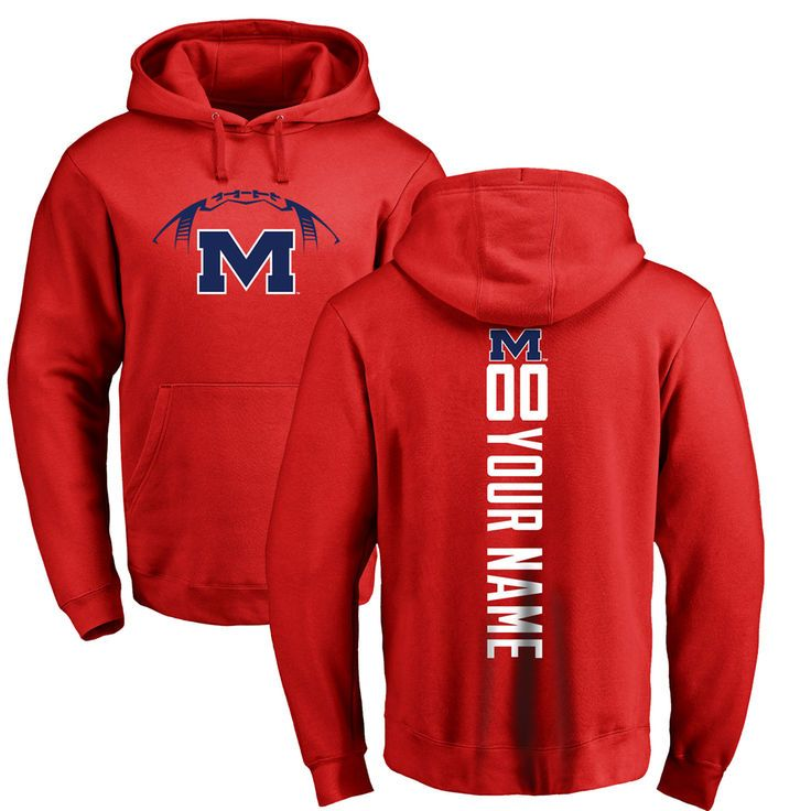Ole Miss Rebels Football Personalized Backer Pullover Hoodie - Red - $69.99