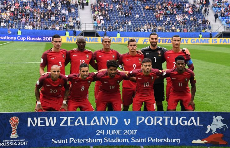 (Back L-R) Portugal's defender Pepe, Portugal's midfielder Danilo, Portugal's defender Bruno Alves, Portugal's forward Andre Silva, Portugal's goalkeeper Rui Patricio, Portugal's forward Cristiano Ronaldo, (front L-R) Portugal's forward Ricardo Quaresma, Portugal's midfielder Joao Moutinho, Portugal's defender Eliseu, Portugal's midfielder Bernardo Silva and Portugal's defender Nelson Semedo pose ahead of the 2017 Confederations Cup group A football...