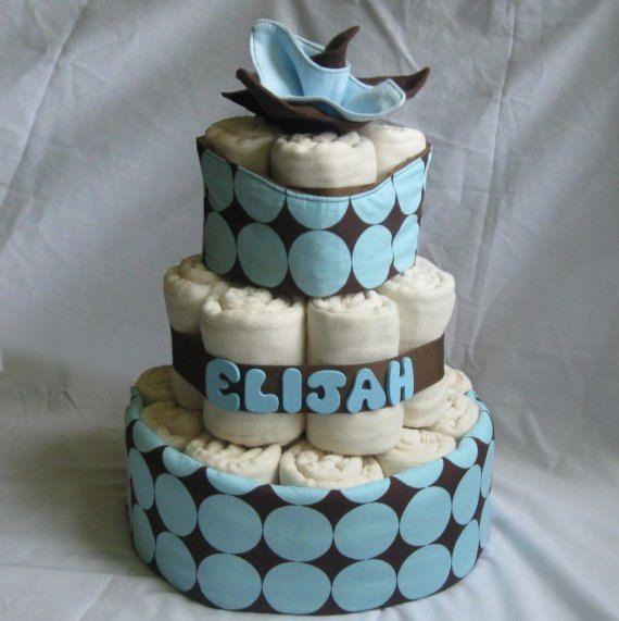 CLOTH Diaper Cake with Prefolds & Handmade Accessories - Ecofriendly Baby Shower Gift  - Custom. $60.00, via Etsy.