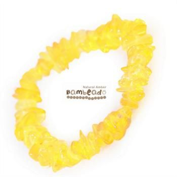 This 18cm bracelet is made from amber nuggets that have been smoothed so that there are no sharp edges. This Lemon Nugget bracelet is threaded onto elastic to stretch over your wrist. While Bambeado amber comes in several colours, the colour is just a matter of personal choice. The colours may vary slightly from the images on the website due to variations in the amber beads. Each amber bracelet is unique
