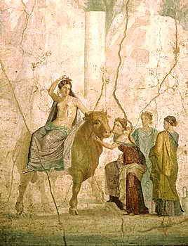 """This work was done by Pompeii called """"Europa and the Bull"""" in 1st Century CE. This shows how Jupiter seduces Europa by changing himself into a bull."""