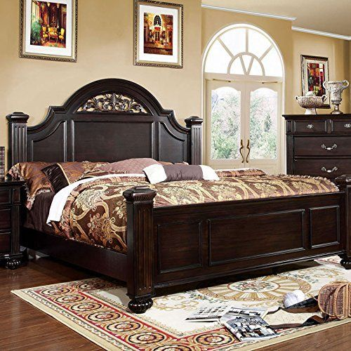 Syracuse Transitional Style Dark Walnut Finish Queen Size Bed Frame Set – Home