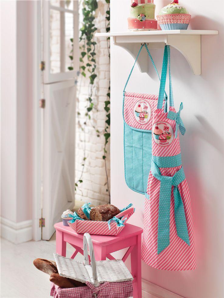 Kitchen Textile, Home Textile in English Home #englishhome #kitchen #pink #pembe #mutfak #önlük