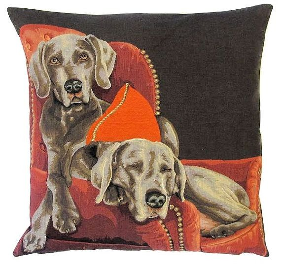 jacquard woven belgian tapestry cushion pillow cover weimaraners on a sofa