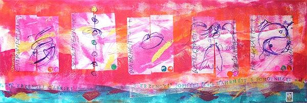 Seelenbild »Erzengel Gabriel & Erzengel Jophiel: Schönheit, Weiblichkeit. Entrümpelung. Wahrheit« (120 x 40 cm)   © Stefanie Marquetant