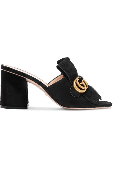 GUCCI HEEL measures approximately 75mm/ 3 inches Black suede Slip on Come with dust bags Made in Italy