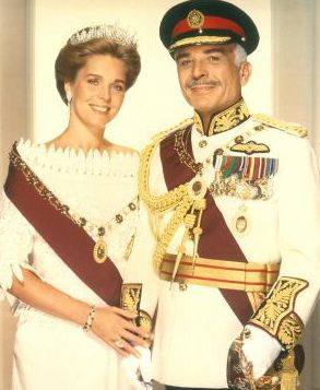 the late king hussein of jordan with his american born wife, queen noor