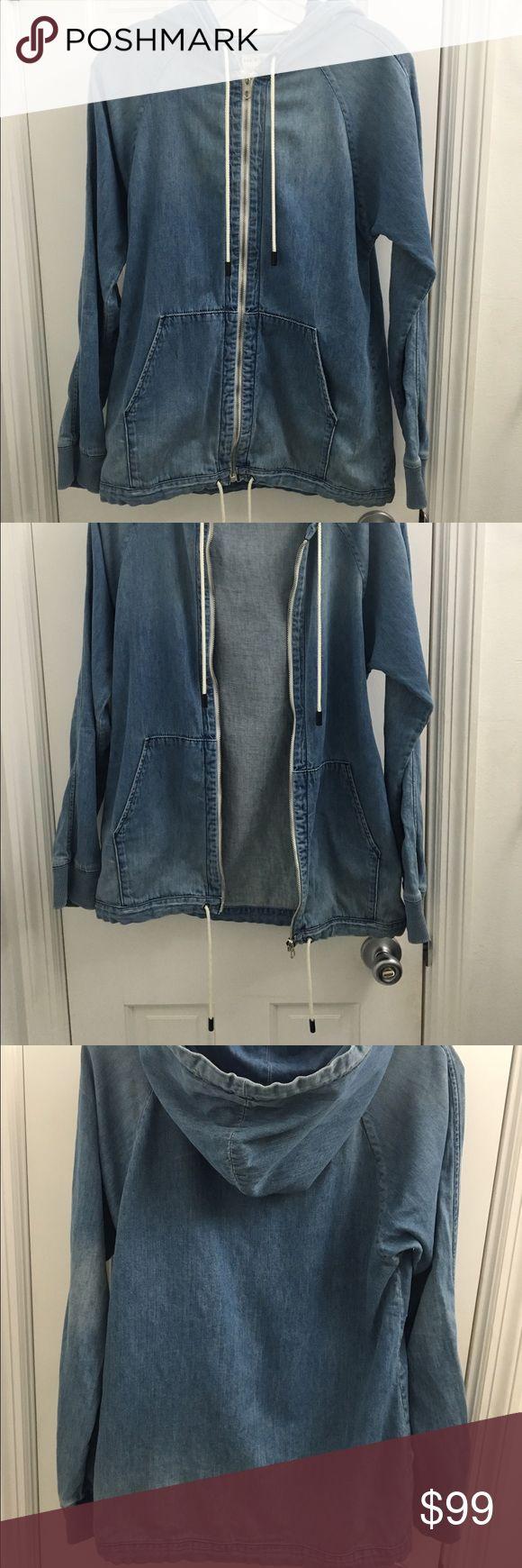 "Rag & Bone washed denim zip up jacket Rag & Bone ""dirty denim"" zip up draw string hooded jacket. Only worn once! Like new with no tags! Super cute size XS rag & bone Jackets & Coats Jean Jackets"