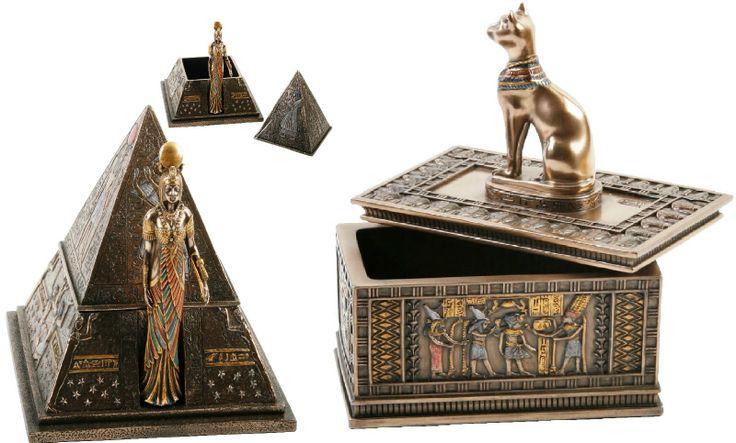EGYPTIAN FIGURINES Bastet Cat Trinket Box, Pyramid Jewellery Box (Bronze Coated) | eBay
