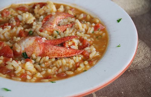 Creamy Lobster Risotto Can leave out tomatoes. Can use lobster or fish stock. Can add saffron