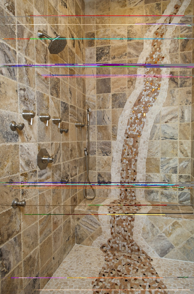 Mosaic Waterfall In Shower