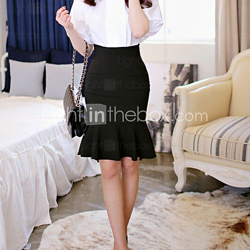 Women's Bodycon/Work Ruffles Asymmetrical Fishtail Skirts (Polyester/Elastic) - USD $14.24 ! HOT Product! A hot product at an incredible low price is now on sale! Come check it out along with other items like this. Get great discounts, earn Rewards and much more each time you shop with us!