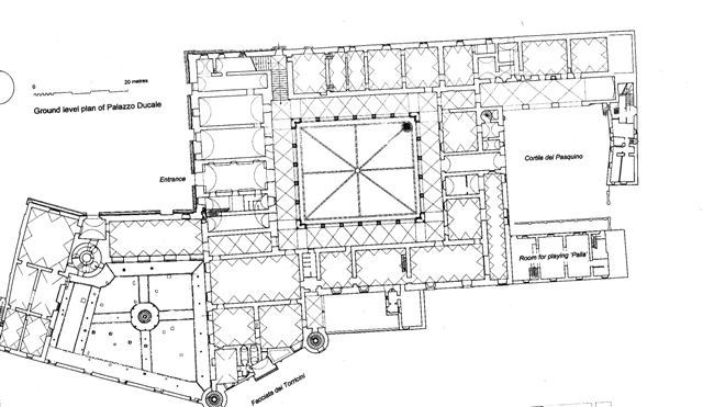 Ducal Palace, Urbino (Pesaro), Italy. Begun around the mid-XV c.; architects: Maso di Bartolomeo, Luciano Laurana and others. Donato Bramante, who was a native of the area, might have contributed too. Ground floor plan.