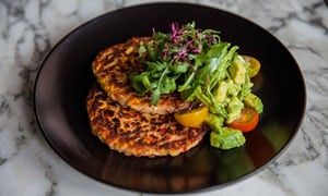 Andrea Waters's sweetcorn and red pepper pancakes with guacamole.