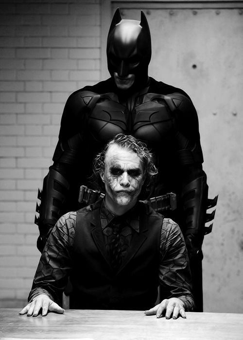 Christian Bale / Heath Ledger as Batman and The Joker. This has to be my favorite moment .