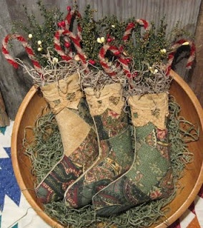Prim Old Quilt Stockings...stuffed with grungy canes & pine...Olde Annie Primitives.
