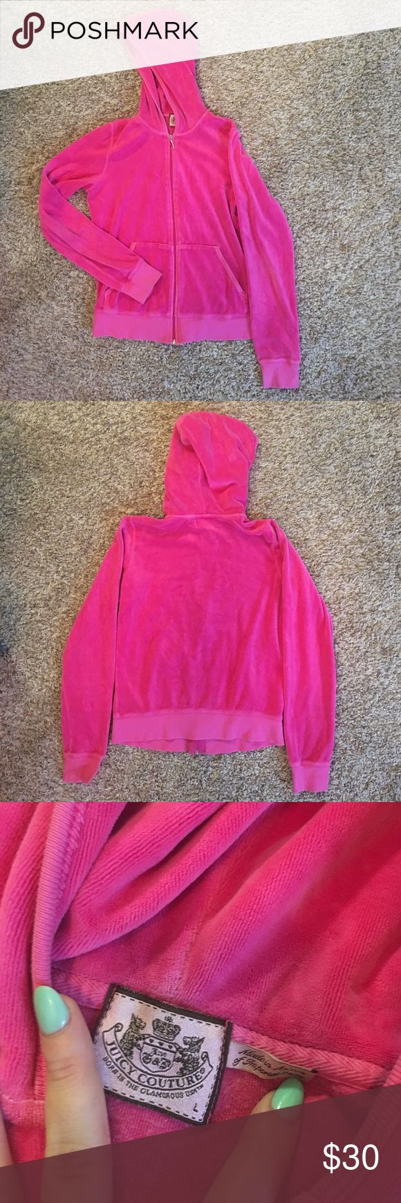 Girls Pink Juicy Couture Velour Jacket Girls Juicy Couture Velour jacket. Girls Large fits women's small! In EUC- no signs of wear.  Taking reasonable offers! Juicy Couture Jackets & Coats