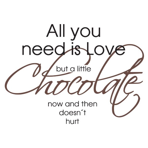 Väggord: All you need is love and chocolate