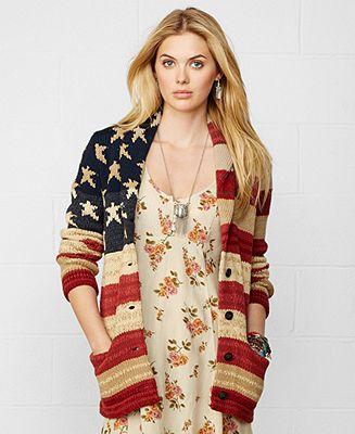 Denim & Supply Ralph Lauren Oversize American-Flag Cardigan - Denim & Supply Shop All - Women - Macy's
