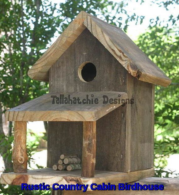 Rustic Country Cabin Birdhouse made from real southern reclaimed barnwood. Cabin is in the style of Southern days gone by. Here in the south we look forward to neighbors stopping by to set a spell. Adds a rustic nostalgic touch to any yard, garden, deck or porch. This rustic birdhouse is crafted from old reclaimed weathered barnwood from Mississippi buildings & structures. Built to withstand the outdoor elements and can easily be mounted anywhere. A stack of firewood is on the porch. You …