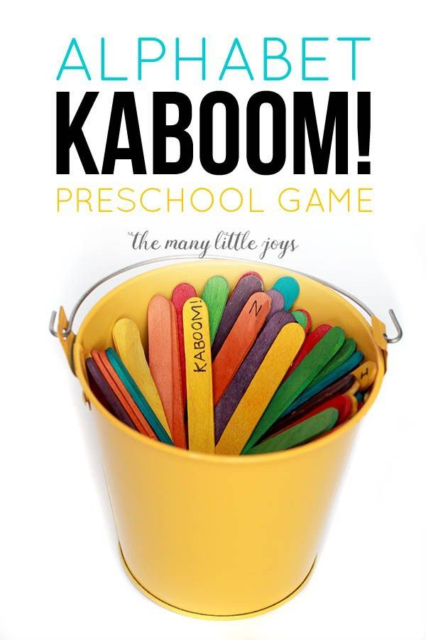 "This ""Kaboom!"" preschool alphabet game is so simple, costs almost nothing to make, and it can be adapted to learn practically anything."