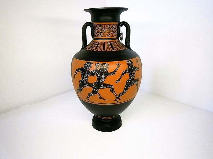 Hand Painted Antique Style Greek Pottery Panathenian Amphora