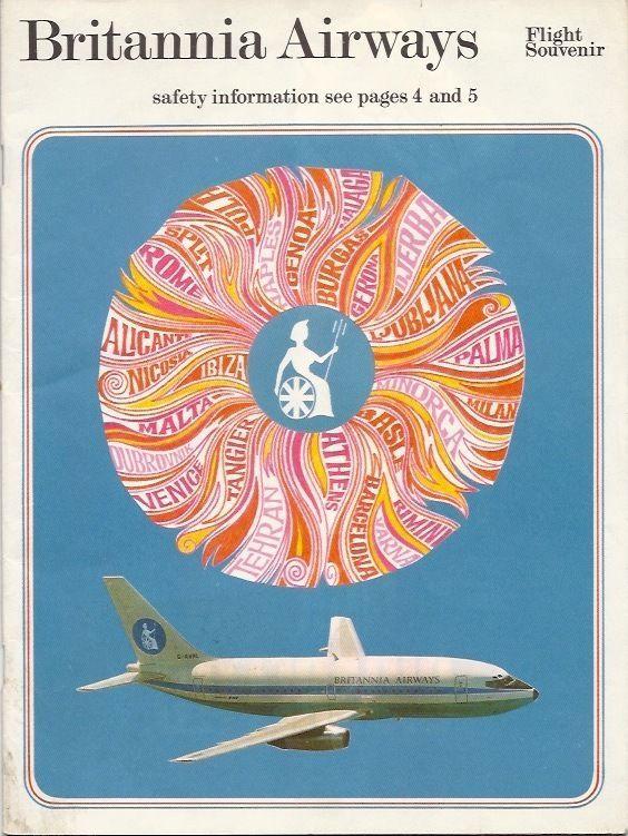 BRITANNIA AIRWAYS BOEING 737 & BRISTOL BRITANNIA 102 VINTAGE SAFETY CARD  -