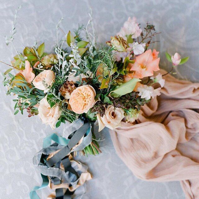 """""""Currently craving this fresh palette of peaches with soft sages and watery blues. Bouquet designed by @ponderosa_and_thyme, photo by @josevilla. #weddingflowers #bridalbouquet"""" Photo taken by @oncewed on Instagram, pinned via the InstaPin iOS App! http://www.instapinapp.com (08/21/2015)"""