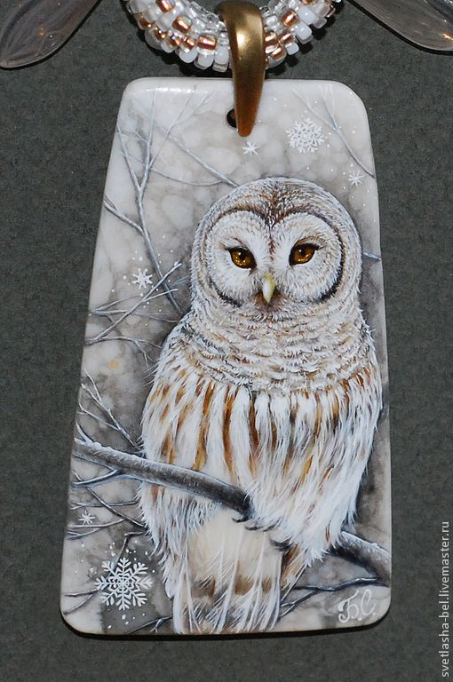Купить сНежности... Сова.. - снежный, лаковая миниатюра, живопись маслом, живопись на камне